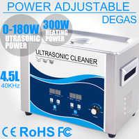 4.5L limpiador ultrasónico hogar 180 W potencia ajustable Degas calentador ultrasonido baño eliminar aceite de mancha lente de laboratorio Dental cadenas PCB