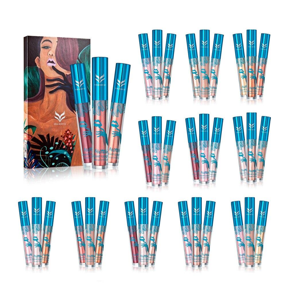 Beauty & Health Huamianli A 12 Colors Holographic Lip Gloss Metallic Diamond Lasting Lipstick 2018 Amazing J18 Drop Shipping Lips