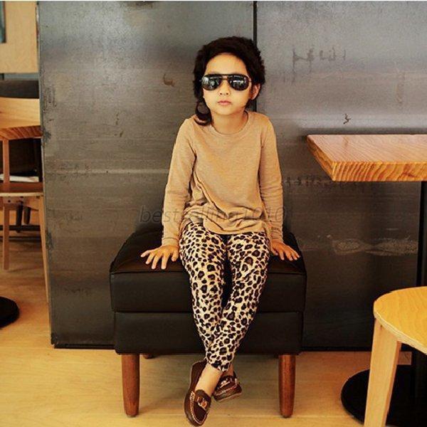 b27c6c2bf4d36 Cotton Blend Girls Kids Stretch Full Length Leopard Animal Print Legging  Pants Trousers XS-XL Fashion Trousers