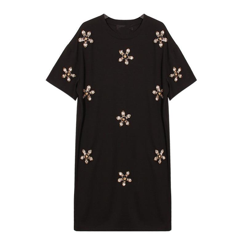 appliques T shirt dress cotton beading tees dress summer 2019 new beach casual fashion white black color