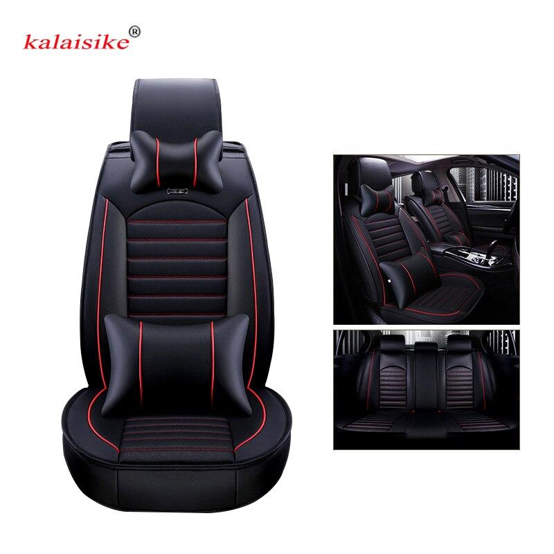 Kalaisike кожаные универсальные автомобильные чехлы на сиденья для Nissan Все модели qashqai x trail tiida Note Murano March Teana Авто Стайлинг - 3