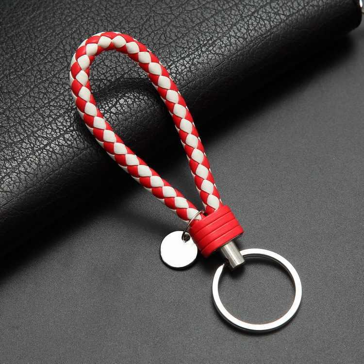 40 Kleuren Handtas Sleutelhangers Gevlochten Leer Rope Handgemaakte Geweven Sleutelhangers Lederen Sleutelhanger Ring Houder Voor Auto Sleutelhangers