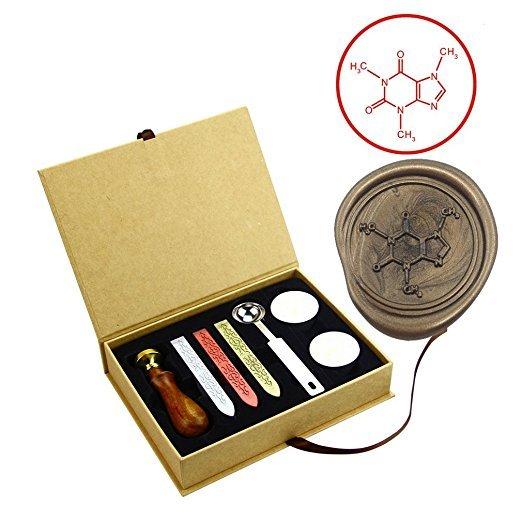 coffee molecular formula chemistry wax seal stamps kit graduation