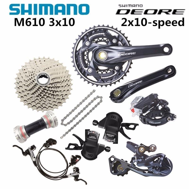 Brand New SHIMANO Deore M610 2x10 Speed MTB Double Groupset  W//O B.B /& Crankset