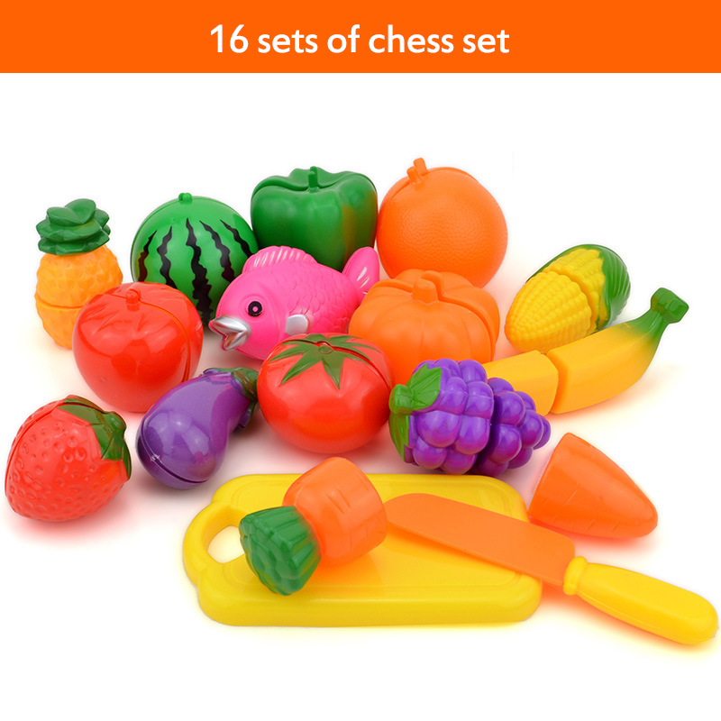 16pcs/set Vegetables Fruit Baby Kitchen Toy Set For Kids Early Learning & Education Food Cutting Classic Toys