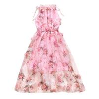 Kids Bohemian Dresses For Girls Ball Gowns Elegant Flowers Girls Wedding Dresses Summer Sleeveless Maix Beach