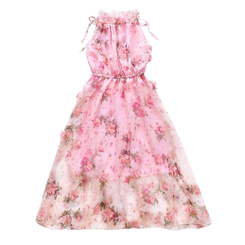 Kids Bohemian Dresses For Girls Ball Gowns Elegant Flowers Girls Wedding Dresses Summer Sleeveless Maix Beach Vacation Dresses