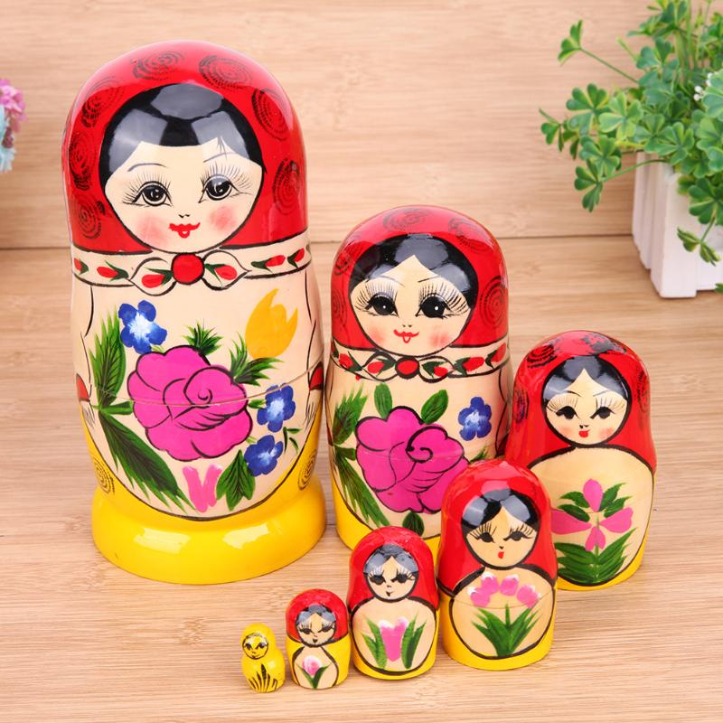 7pcs/Set Lovely Village Girl Matryoshka Doll Wooden Russian Nesting Dolls Toys For Friends Gifts With Russia National Feature