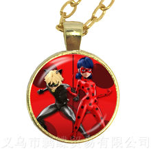 New Ladybug And Cat Noir Pendant Necklace For Women Kids Anime Jewelry Ladybug High Quality Handmade Sweaterchain(China)
