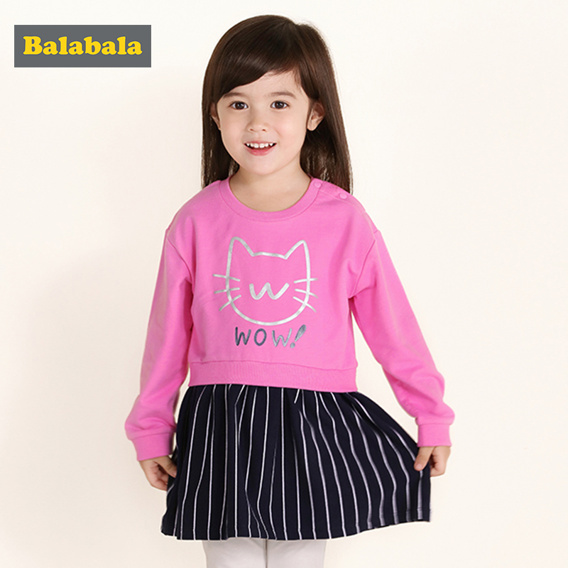 balabala baby girls Clothes set 2pcs fashion cotton spring Tops dress+Long Pants cat Outfits costume girl children's clothing 2016 new fashion casual boy girl baby clothes lion tops t shirt pants 2pcs outfits clothing set spring summer 2 3t 4t 5t 6t 7t