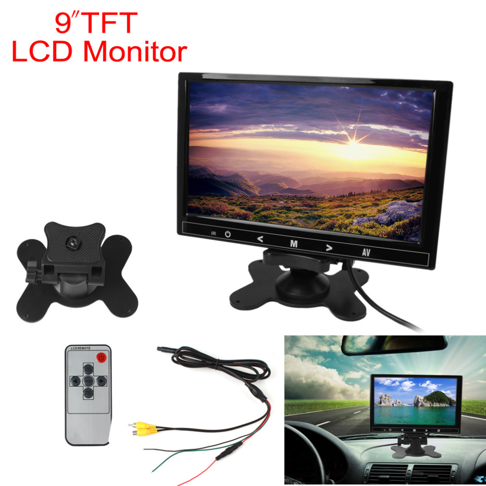 9 Inch Auto Car Rear View VCR Monitor RGB Digital Display 2 Video Input Rearview Reverse Backup Parking Monitor Touch Button