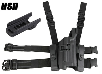 High Quality HK USP Holster Tactical LV3 Compact RH Drop Leg Holster with Magazine Pouch Black Hunting Accessories