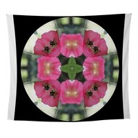 Bee In Pink Hollyhock Wall Tapestry