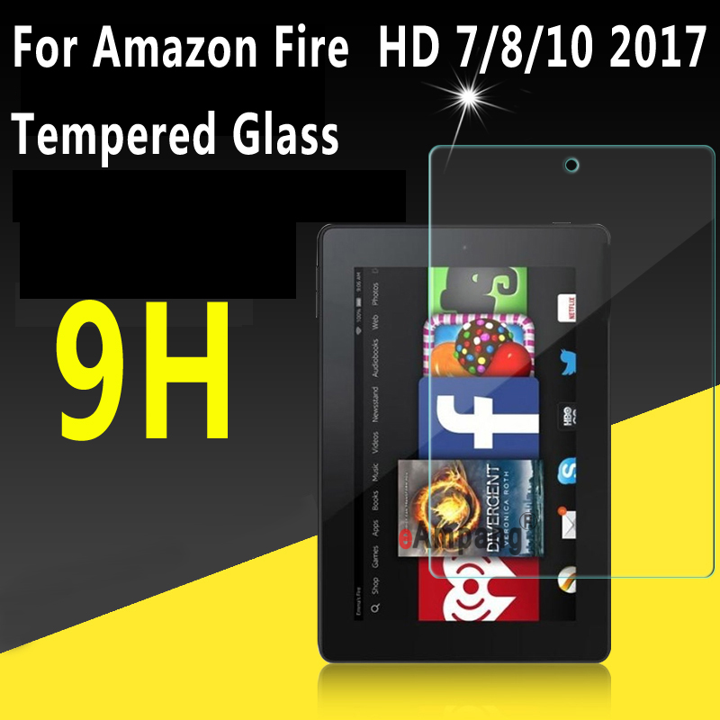Recipiente transparente De Vidro Temperado Para Amazon Fogo HD 10 Protetor de Tela 2017 para Amazon Fogo HD 8 2017 Caso para a Amazon Fogo 7 2017