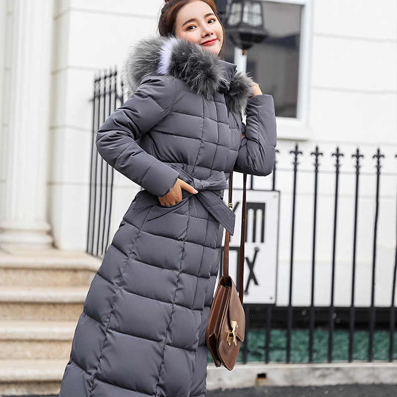 Новая стеганая куртка 2019 длинная модная зимняя куртка женская толстая пуховая парка женский тонкий меховой воротник зимнее теплое пальто для женщин