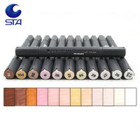 STA 12 Color Professional Artist Sketch Markers Pen Double Head Skin Art Marker Pen For School
