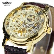 2016 GANADOR Marca de Moda Para Hombre Top Marca de Relojes de Lujo Popular Moderna de Estilo Antiguo Transparente Handwind Reloj de Pulsera de Diseño