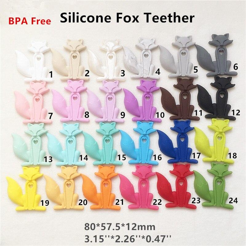 Chenkai 5PCS BPA Free Safe Silicone Fox Teether Pendant DIY Nursing Necklace Baby Pacifier Dummy Sensory Toy Teething Gfit