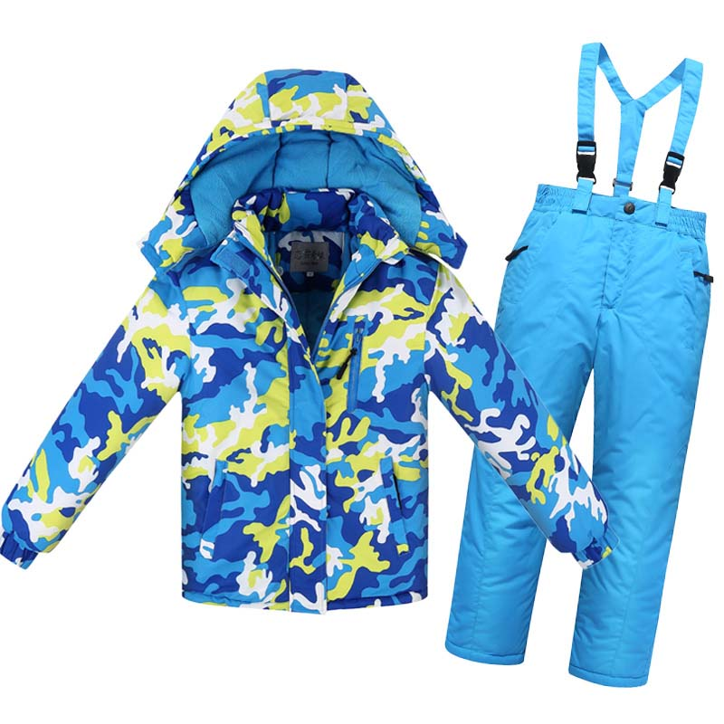 New Winter Children Snowsuit Thick Warm Waterproof Ski Suit Boys Girls Cotton Snowsuit Jacket+Pants Jumpsuit Kids Overalls E177