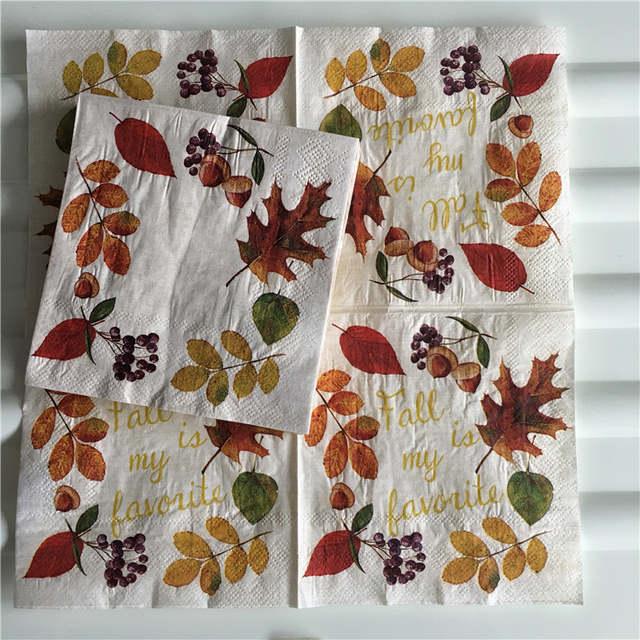 25cm Decoupage vintage table napkin paper elegant tissue colorful fall  leaves fruits wedding party home dinner decor serviettes