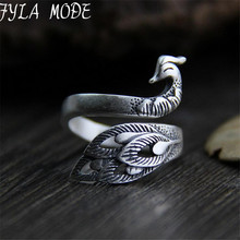 Fyla Mode 2017 New Pure 999 Sterling Silver Peacock Rings for Women Adjustable Size Ring Fashion sterling-silver-jewelry 18.80mm