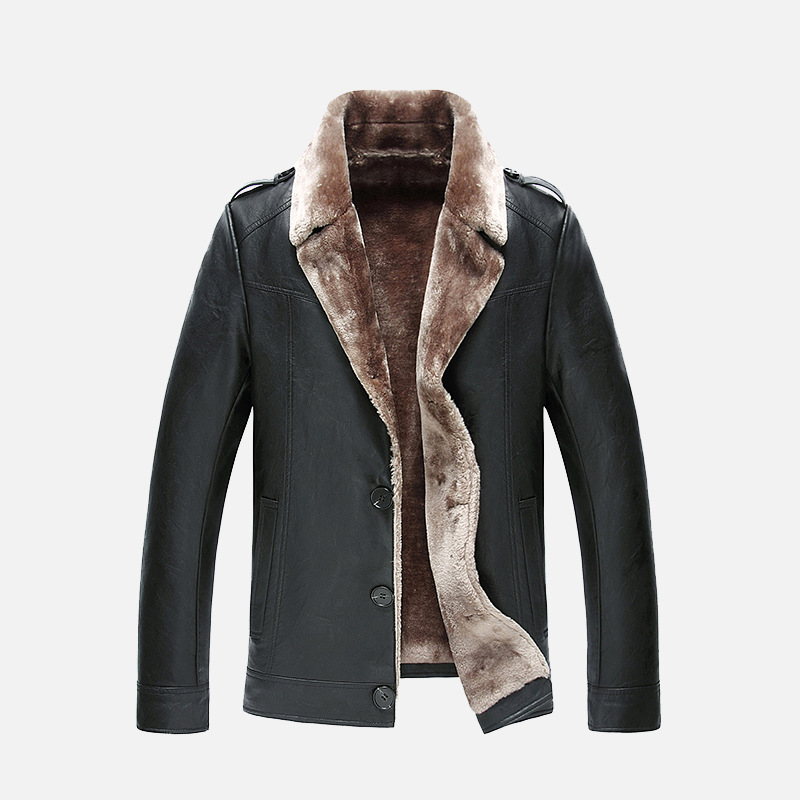 2017 winter new mens leather coat fur Thick Leather Garment Business Casual flocking Mens High Quality Leather Jacket Men