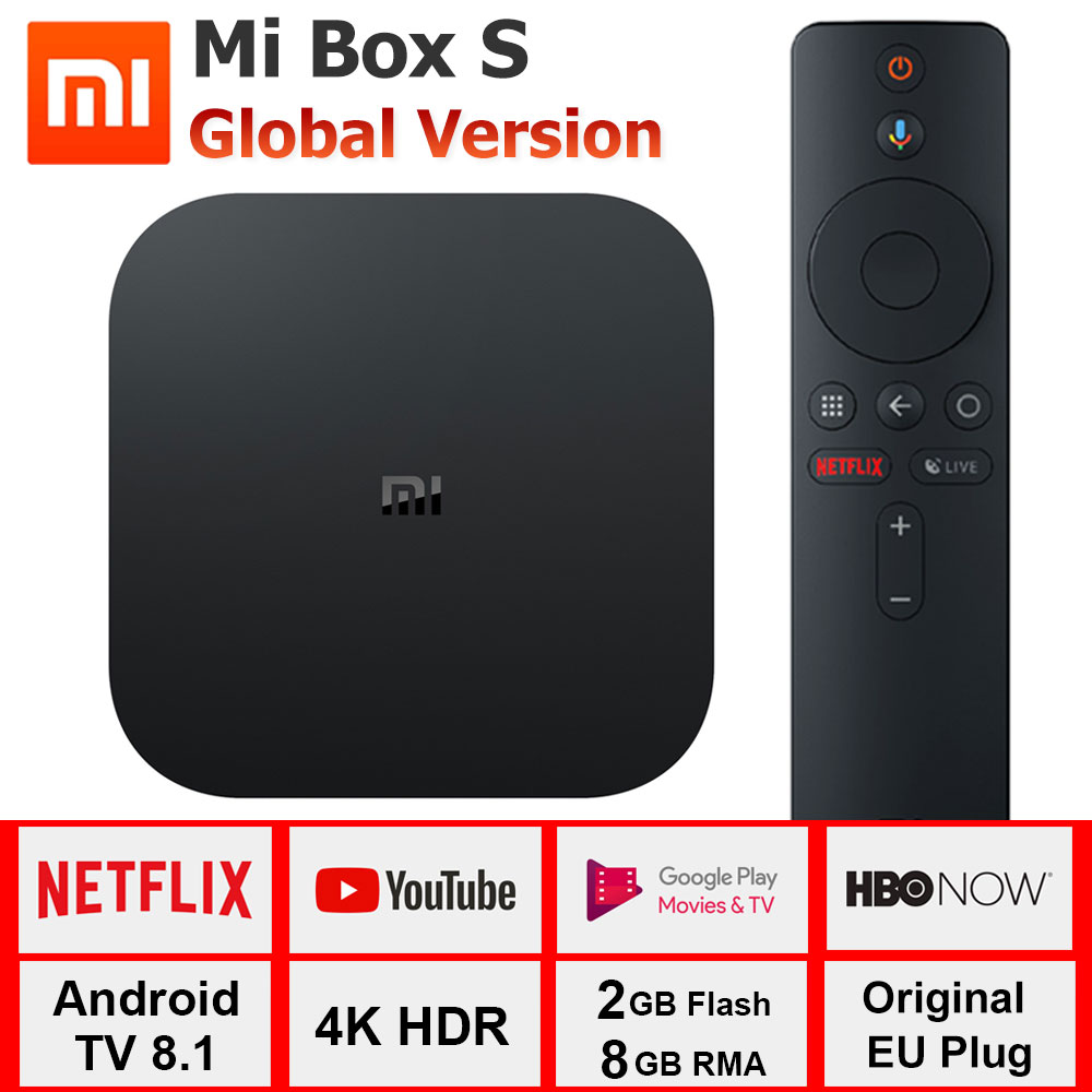 Xiao mi mi Caixa S Cortex-A53 4 K Caixa de TV Quad Core 64 pouco Mali-450 1000Mbp Android 8.1 wi-fi BT4.2 2 GB + 8 GB HD mi 2.0 Caixa de TV Mais Recente