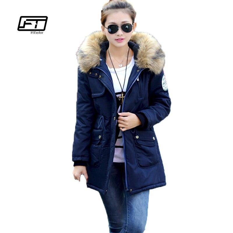 Fitaylor Женское зимнее пальто ватная военная куртка средней длины плюс размер 4xl парка с меховым воротником утолщение с капюшоном армия Abrigos