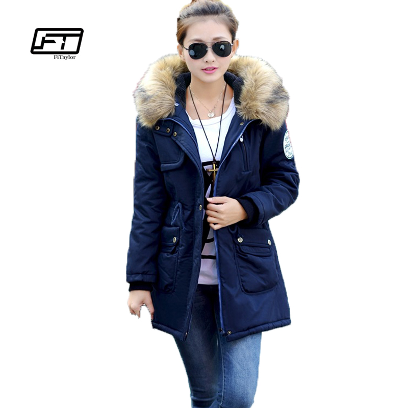 Fitaylor Women Winter Coat Wadded Military Jacket Medium-long Plus Size 4xl   Parka   Fur Collar Thickening Hooded Army Abrigos