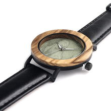Green Wood Watches With Genuine Leather Strap