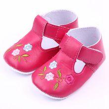 Anti-slip Sole Крючок и Петлю Кожа Ребенка Малыша Обувь Для Девочек 0-15 Месяцев