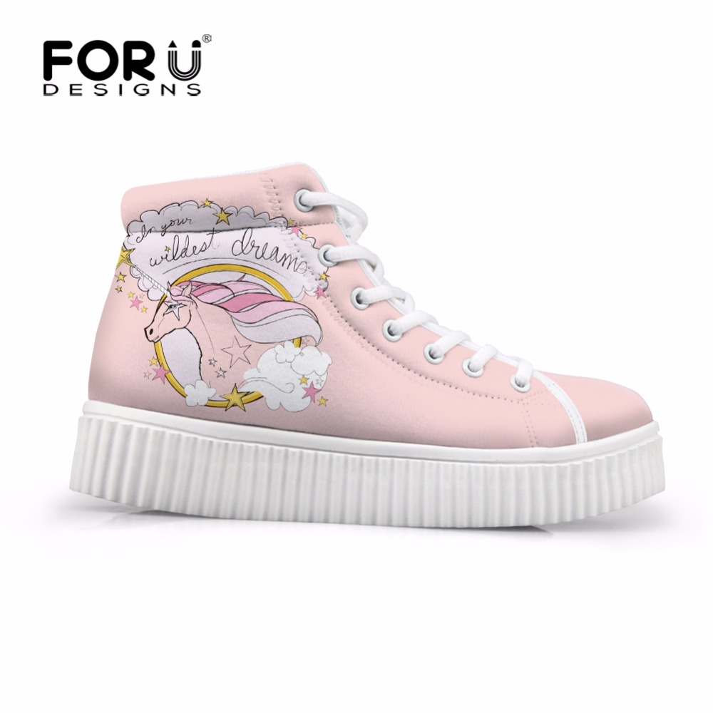FORUDESIGNS High Top Casual Women Flats Shoes 3D Fashion Unicorn Pattern Women's Platform Shoes Autumn Female Height Increasing forudesigns fashion women height increasing flats shoes 3d pretty flower rose printed casual high top shoes for female platform