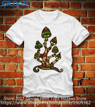 Funky T Shirts  Short Magic Mushrooms Crew Neck Christmas Shirt For Men