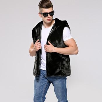 2018 New Men's Faux fur Zipper Hooded Vest Men's Large size Mink jacket Faux Fur jacket Size S M L XL XXL XXXL 4XL