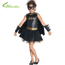Filles Halloween Costume Batman Robe & Masque Ensemble Cosplay Usage D'étape D'habillement Enfants Enfants Halloween Party Vêtements Livraison Drop Ship