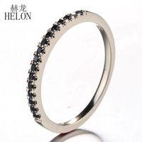 HÉLON Solide 10 K Jaune Or Noir Diamants Style Exquis Bague de Fiançailles De Mariage de Diamant Bande Femmes Fine Jewelry