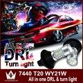 Senhor noite 7440 WY21W T20 Winker Blinker drl led daytime running light & Frente Sinais de Volta Do Carro tudo em um