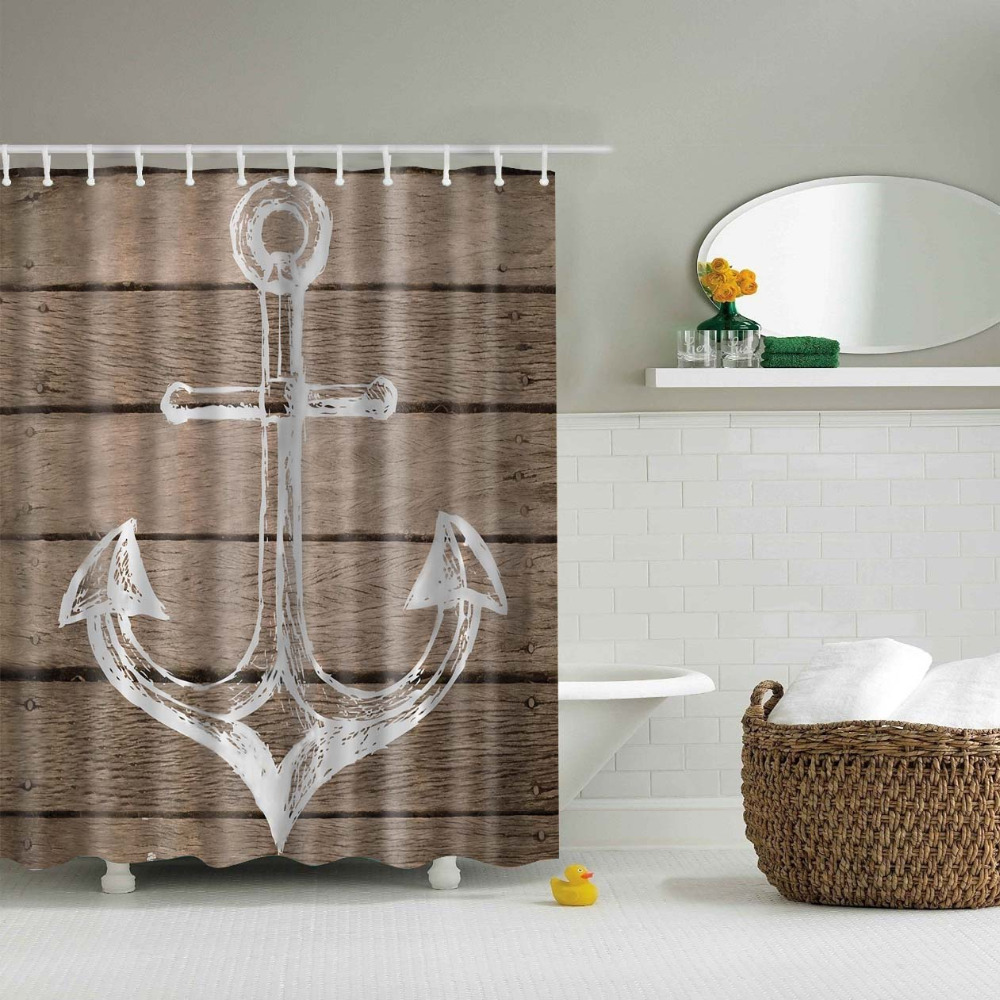 Anchor bathroom decor - Brief Style Anchors Print Curtains Waterproof Bathroom Curtains Polyester 180x180cm Decoration With Hooks China
