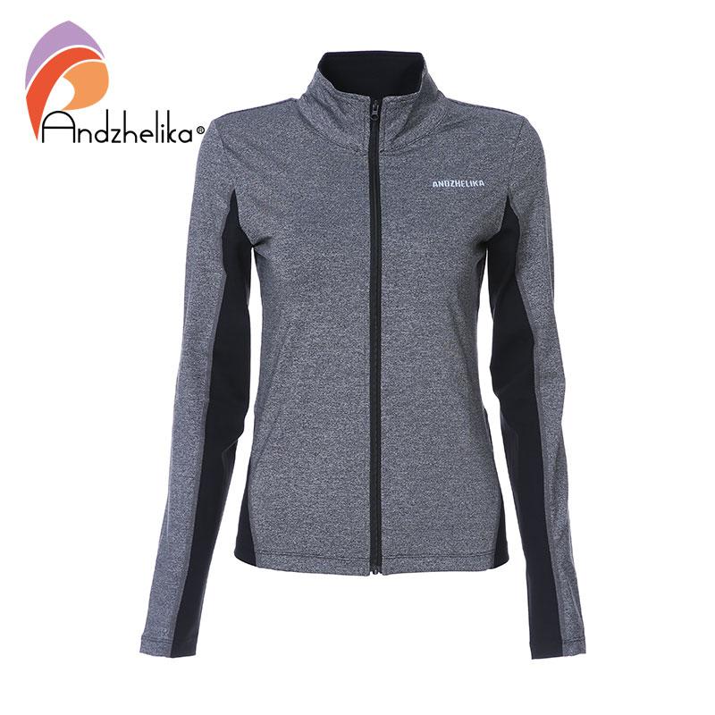 Andzhelika Women Sports Jackets Breathable Running Sportswear Yoga Zipper Long Sleeve Quick Drying Sweatshirt Outdoor Gym Jacket