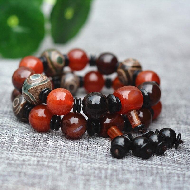wholesale Natural Red chalcedony wheel Buddha bead bracelet men black round beads bracelet fashion jewelry gifts