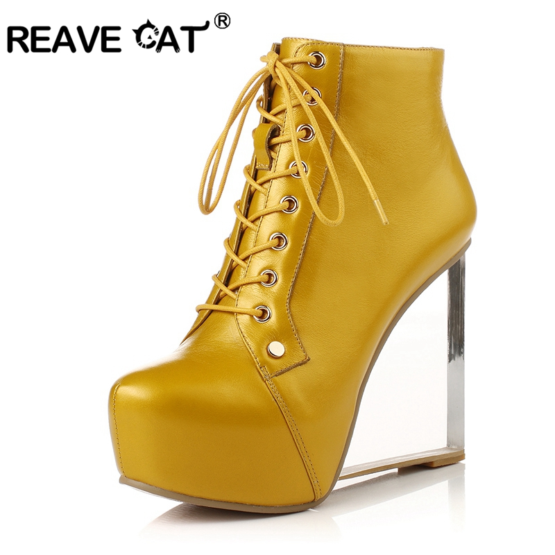 REAVE CAT Women Real Genuine leather Wedge Shoes sexy brand fashion see through heels fashion cross strap size 33-41 A1244 stylish women s plunging neck cross back see through teddy