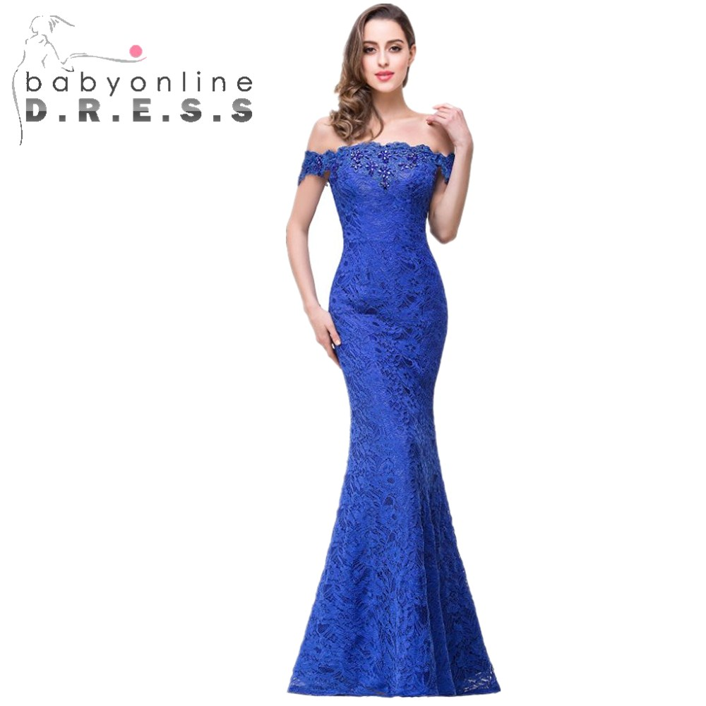 Online get cheap blue bridesmaid dress with lace aliexpress new mermaid off the shoulder full lace crystals royal blue bridesmaid dress wedding party dress robe ombrellifo Choice Image