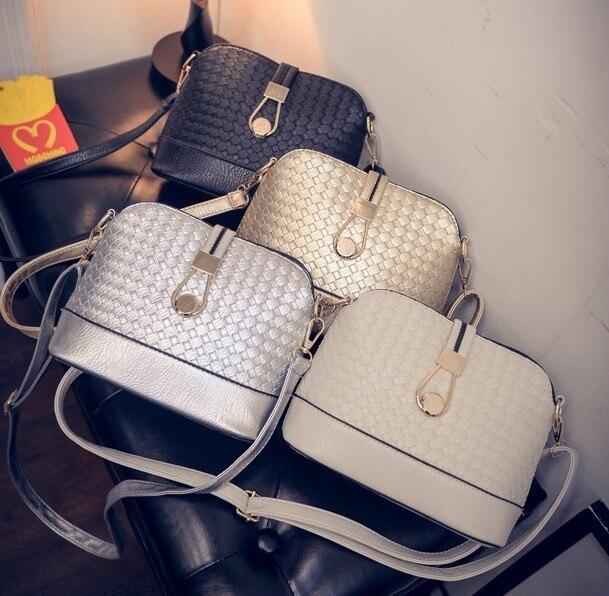 b714cf02e7b83 Weave Shell Leather Handbags Women Crossbody Shoulder Messenger Bags Famous  Brands Luxury Designer For 2018 Bolsas