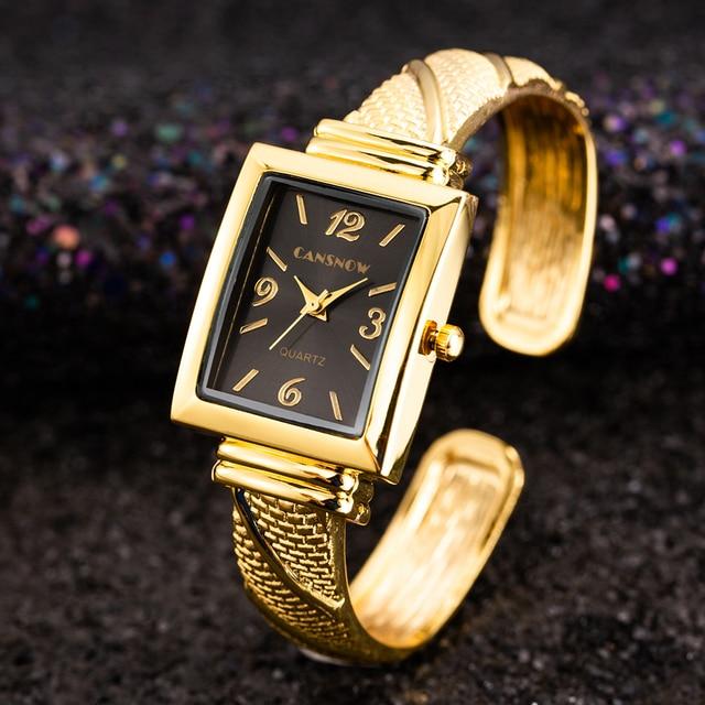 Luxury Elegant Golden Bangle Watches Women Fashion Bracelet Watch Ladies Casual