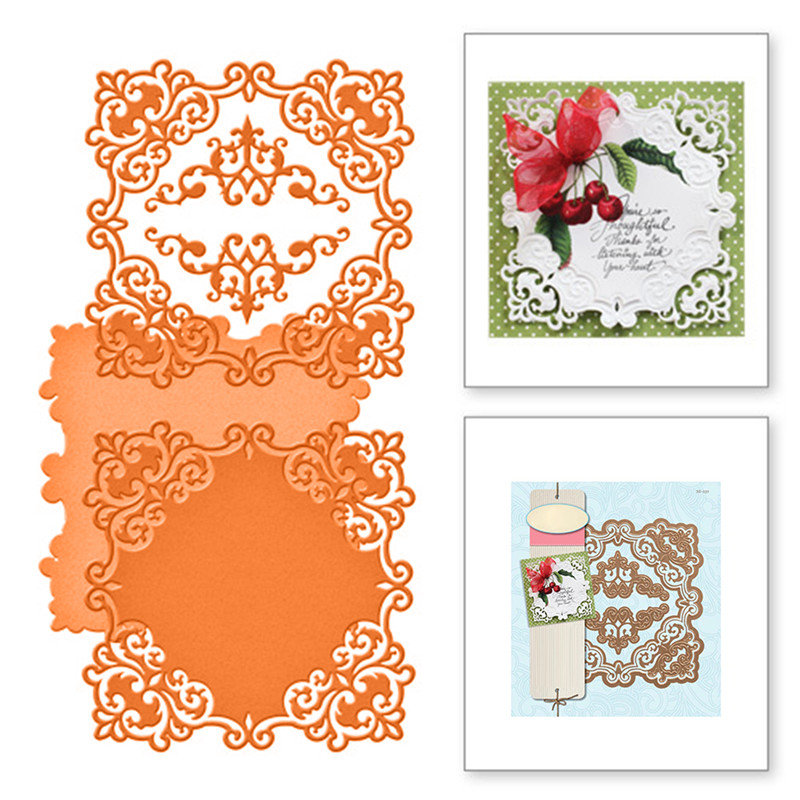 DiyArts 3 Pcs lot Metal Cutting Dies Scrapbooking For Card Making DIY Embossing Cuts New Craft Square Pattern Decoration Frame in Cutting Dies from Home Garden