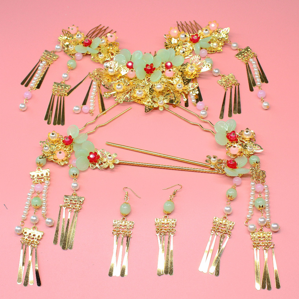 9pieces sets Costume light green multicapacity pink beads pearl special Bride Headdress Chinese Hair Ornament Crown Wholesale
