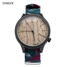 Attractive New Fashion Stylish Printed Case Women's Wood Grain Canvas Quartz Wrist Watch Watches Female Free Shipping
