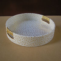 29 cm round leather serving storage decorative tray fruit food tray embossed gold over white 296C