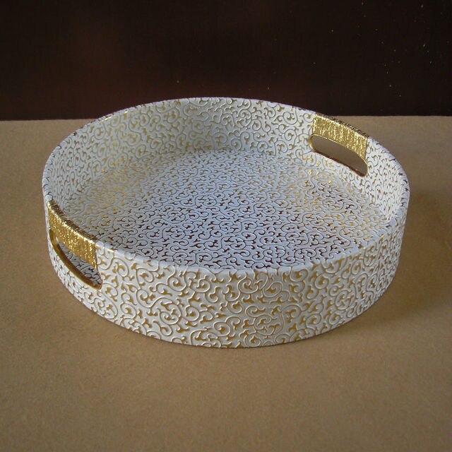 29 cm round leather serving storage decorative tray fruit