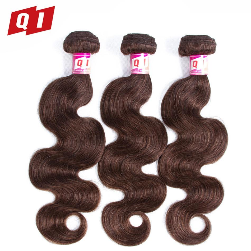 QI Hair Peruvian Body Wave Human Hair Double Weft 3 Bundles 100% Non Remy Hair Weave Extension 4# Color Body Weave Bundles